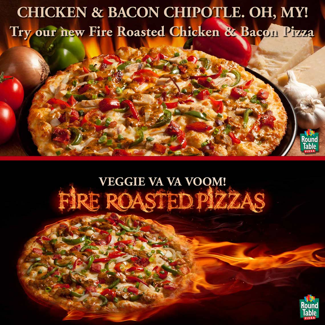 Pizza with flames