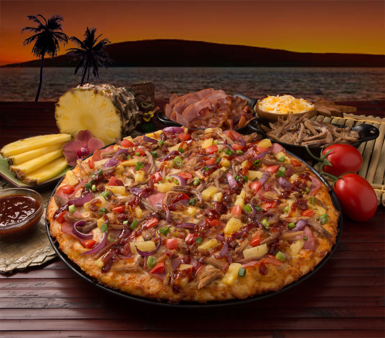 Pizza Hawaiian sunset
