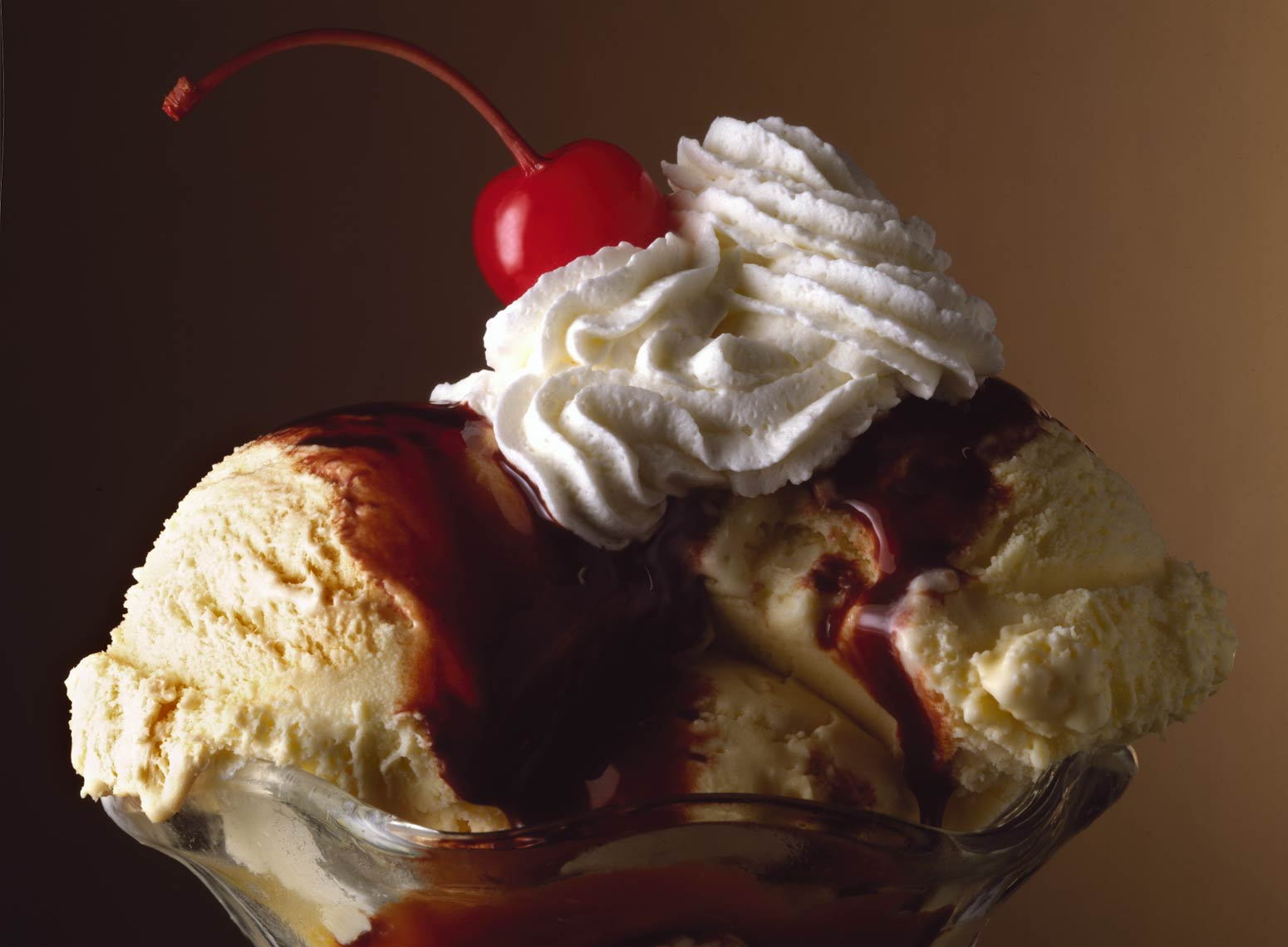 Ice Cream Sundae with chocolate sauce and whipped cream