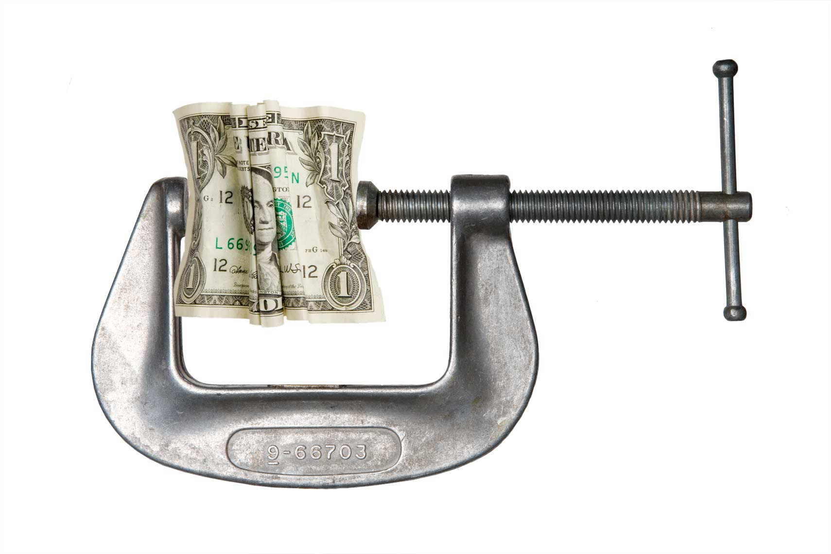 Vise squeezing a dollar